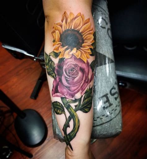 sunflower and rose tattoo sunflower meaning and best design ideas