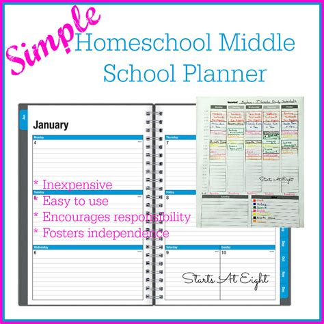 printable planner pages for school free simple homeschool middle school planner