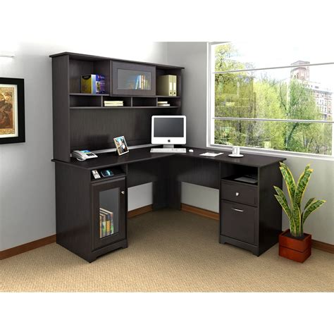 cabot l shaped desk with hutch bush cabot l shaped desk with optional hutch desks at