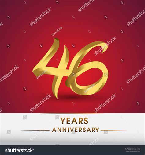Celebrating 46 Years Anniversary Logotype Golden Stock