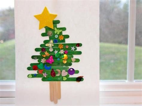 bright diy popsicle stick christmas tree to make with kids