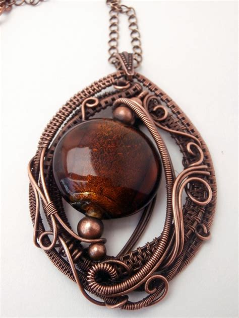 Copper Handmade Jewelry - copper wire wrapped pendant necklace handmade jewelry