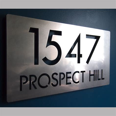 house address numbers custom modern deluxe floating address sign in stainless