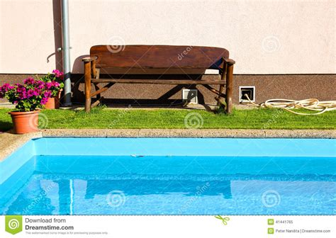 swimming bench bench and swimming pool stock photo image 41441765