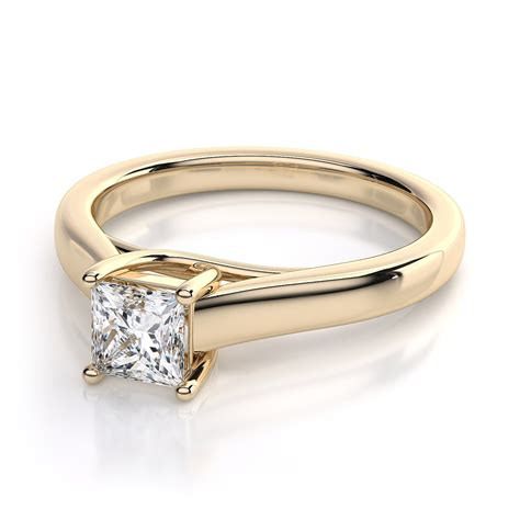 princess cut trellis solitaire engagement ring in