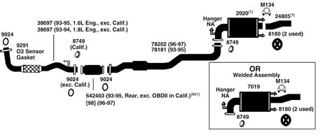 1997 Toyota Camry Exhaust System Diagram Toyota Corolla Exhaust Diagram From Best Value Auto Parts