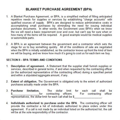 blanket purchase order agreement template stock purchase agreement 10 documents in pdf