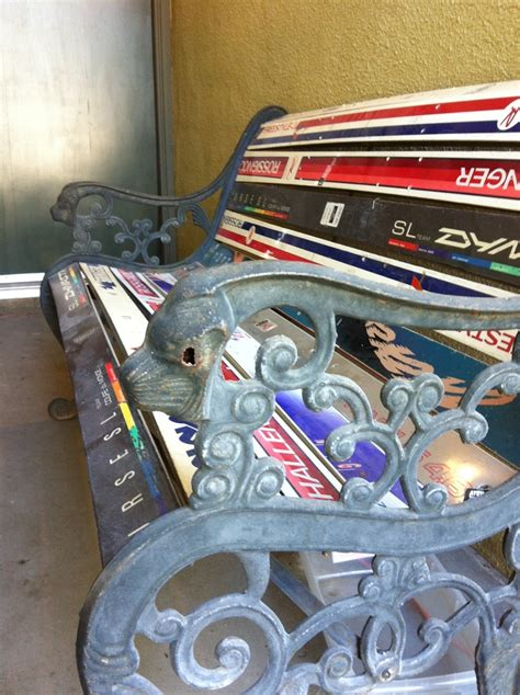 bench made out of skis bench made out of old skis snow stuff pinterest