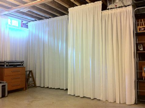 Houseonashoestring Unfinished Basement Main Area Basement Curtain Ideas