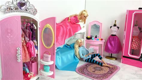 barbie bunk bed barbie bunk bed bedroom morning routine دمية باربي غرفة