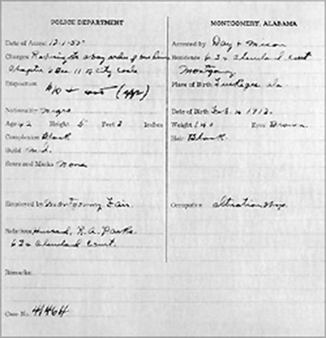 East Point Ga Arrest Records An Act Of Courage The Arrest Records Of Rosa Parks