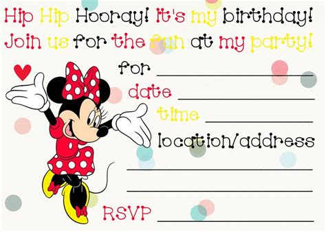 Minnie Mouse Birthday Card Template by Printable Minnie Mouse Birthday Invitations Bagvania