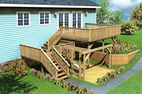 split level deck play area project plan 90007 decks