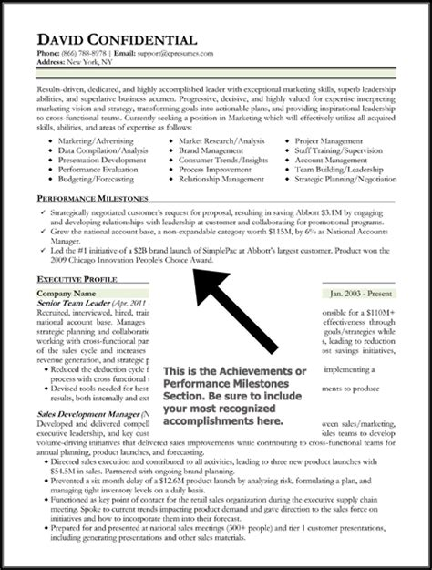 achievement resume template cv exles key achievements