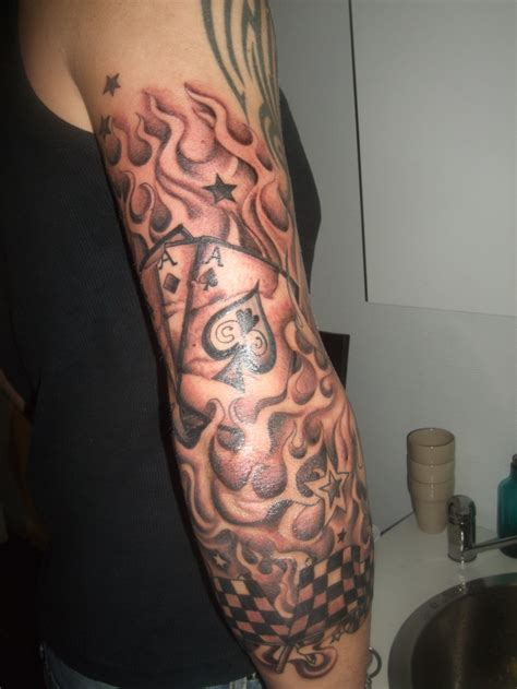 tribal flame sleeve tattoo images designs