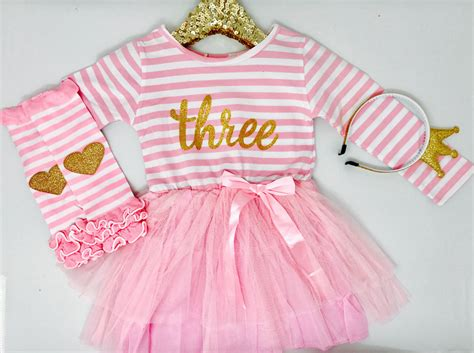 Beby Dress Yumi Size 3th 5th third birthday dress pink and gold bespokedco