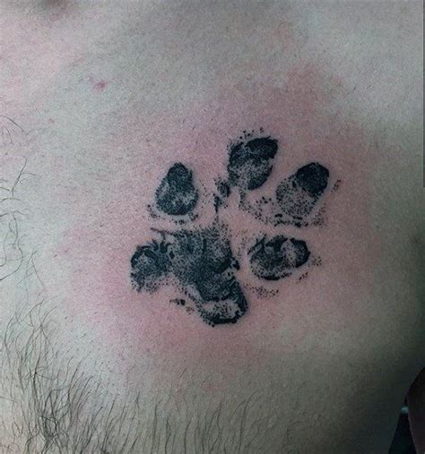 paw print tattoo on chest celebrity 70 dog paw tattoo designs for men canine print ink ideas