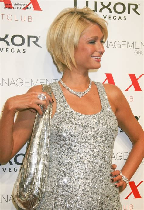 Paris Hilton's highly textured oval bob haircut