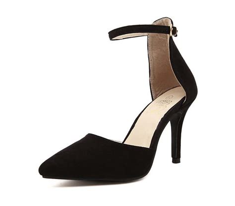 fashion black suede ankle wrap pointed toe
