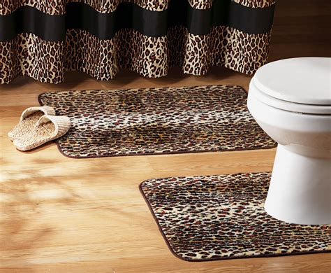 Leopard Print Bathroom Set Shower Curtain Rugs Towels Bathroom Rug Sets