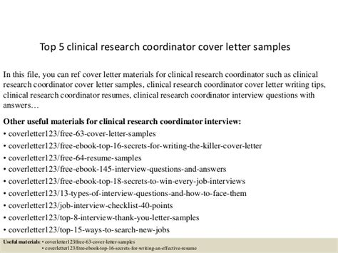 clinical research coordinator cover letter top 5 clinical research coordinator cover letter sles
