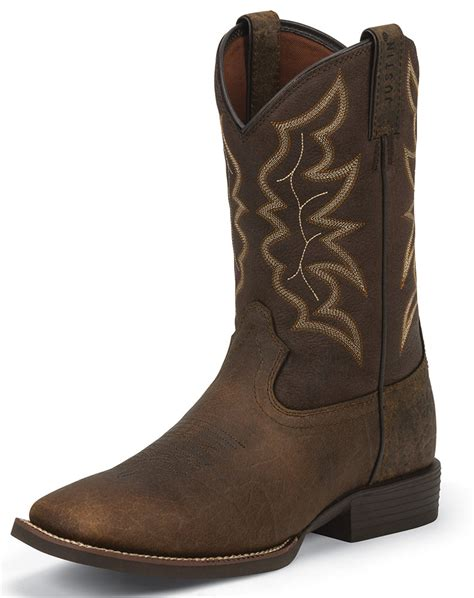 mens square toed boots justin s stede 11 quot square toe boots brown