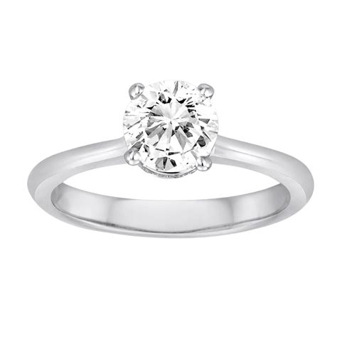 18k white gold simple solitaire engagement ring