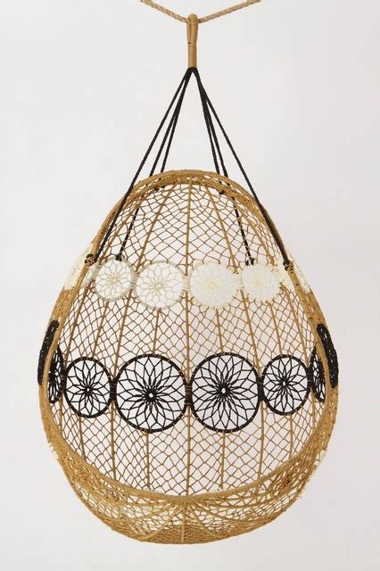 Knotted Melati Hanging Chair, Natural Motif   Eclectic