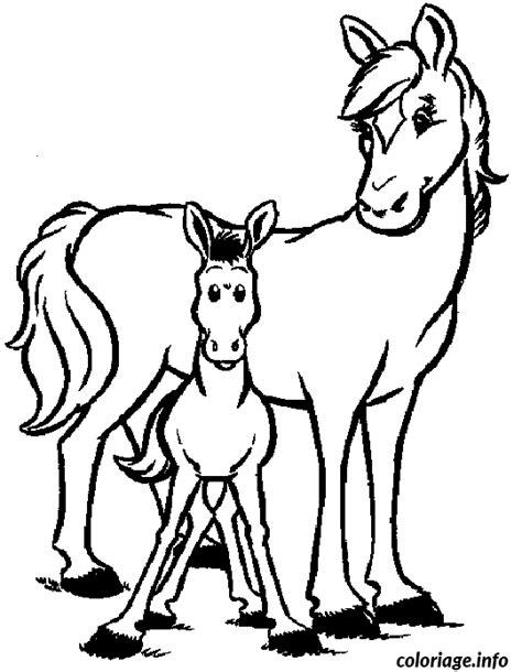 coloriage deux chevaux dessin