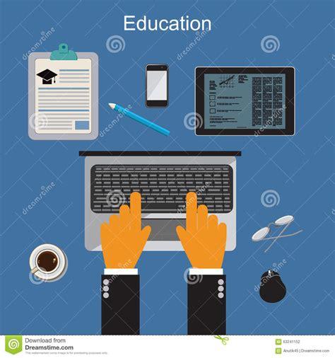 online education illustration flat design illustration education online training and studying vector