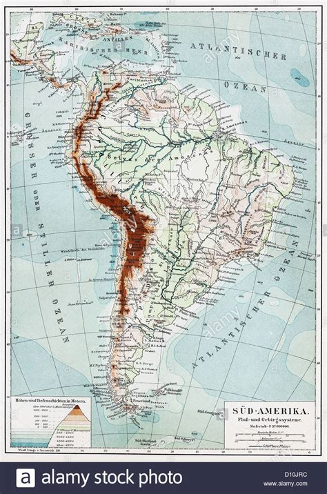 america map rivers and mountains vintage map of south america rivers and mountains system