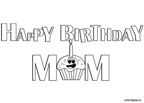 happy birthday mom coloring coloring page