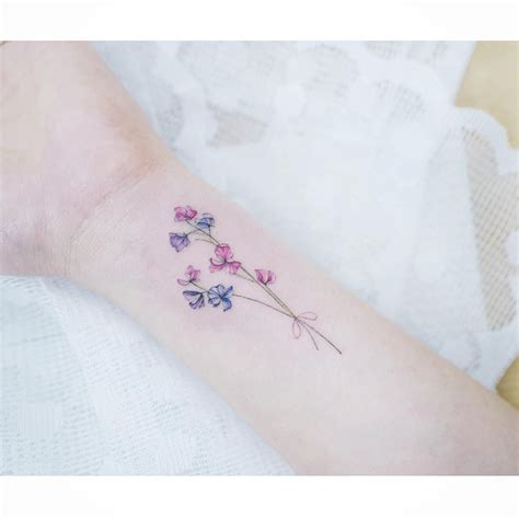 sweet pea flower tattoo designs watercolor tattoos korean style watercolor tattoos
