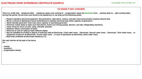 Experience Letter Electrical Electrician Experience Letter Sle