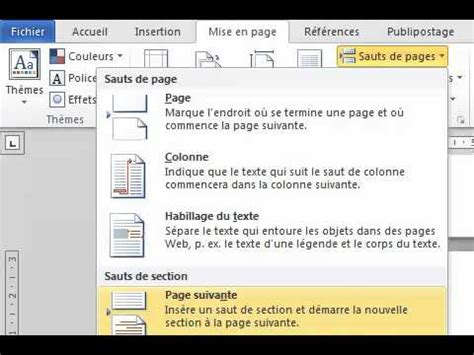 word sections word 2007 2010 2013 num 233 roter une partie du document