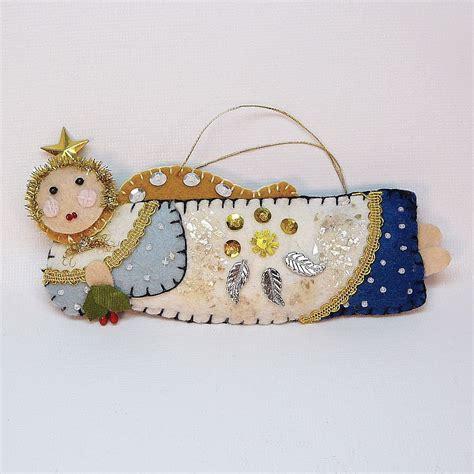 vintage handmade felt angel christmas ornament
