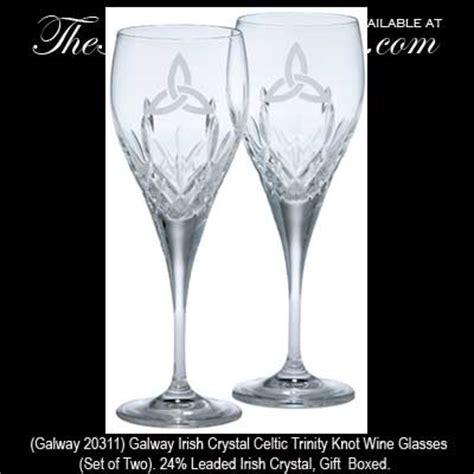 Galway Irish Crystal Celtic Trinity Knot Wine Glasses