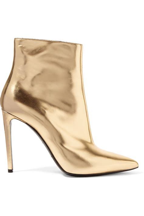 balenciaga mirrored leather ankle boots in gold lyst