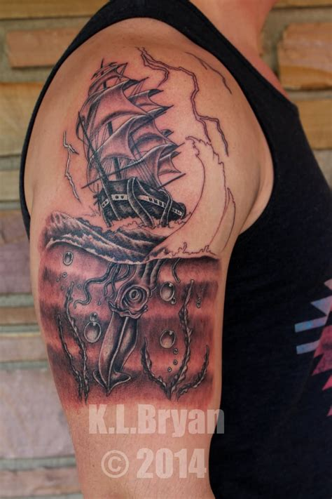 kraken ship tattoo 20 kraken ship tattoos