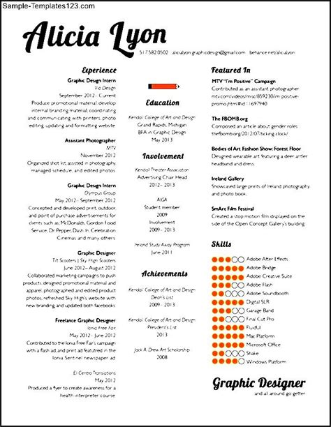 graphic design resume sle sle templates