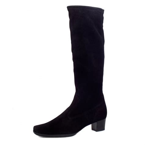 kaiser aila stretch suede boots in black