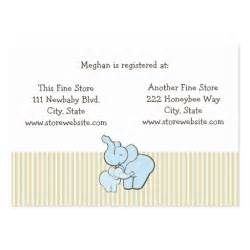 baby shower registry card blue elephant hugs business card