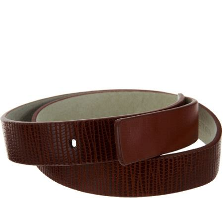 h by lizard embossed leather belt page 1 qvc
