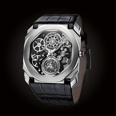 Bvlgari Flying Tourbillon Leather Black For octo finissimo tourbillon skeleton bulgari the