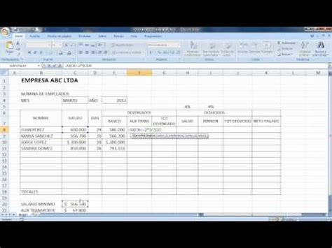 tutorial excel nomina 2012 youtube formato nomina colombia videos videos relacionados con