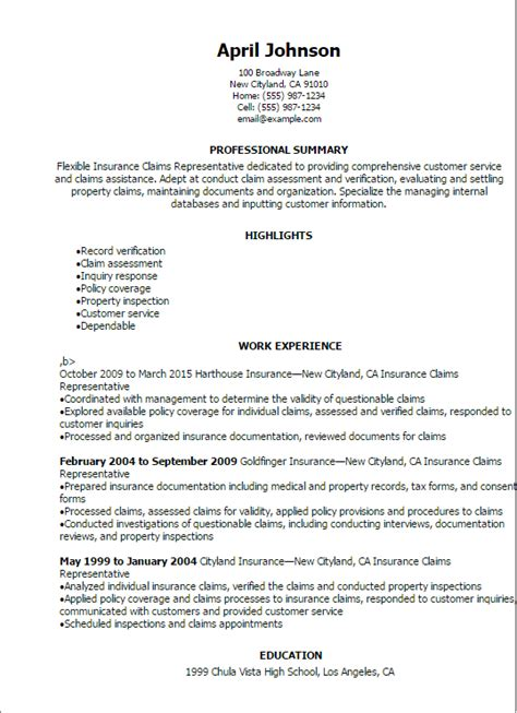 Insurance Resume by Insurance Claims Representative Resume Template Best