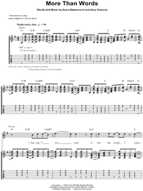 More Than Words Extreme Guitar Chords