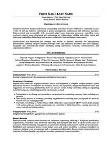 Maintenance Resume Template Maintenance Supervisor Resume Template Premium Resume