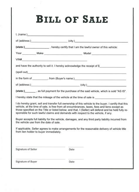 printable bill  sale templates form generic