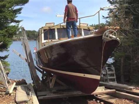 john s bay boat launch of new 48 foot wooden boat by john s bay boat co